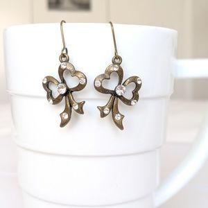 Bowtie brass Earrings crystal